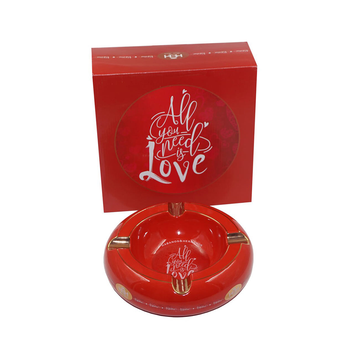 Ashtrays ALL YOU NEED IS LOVE Red Porcelain with Golden Grooves