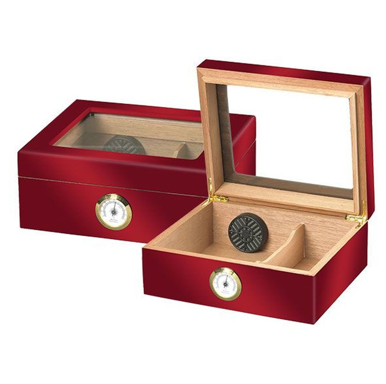"""LE ISLE ROUGE"" Glasstop Red Highgloss Humidor for 25 Cigars"