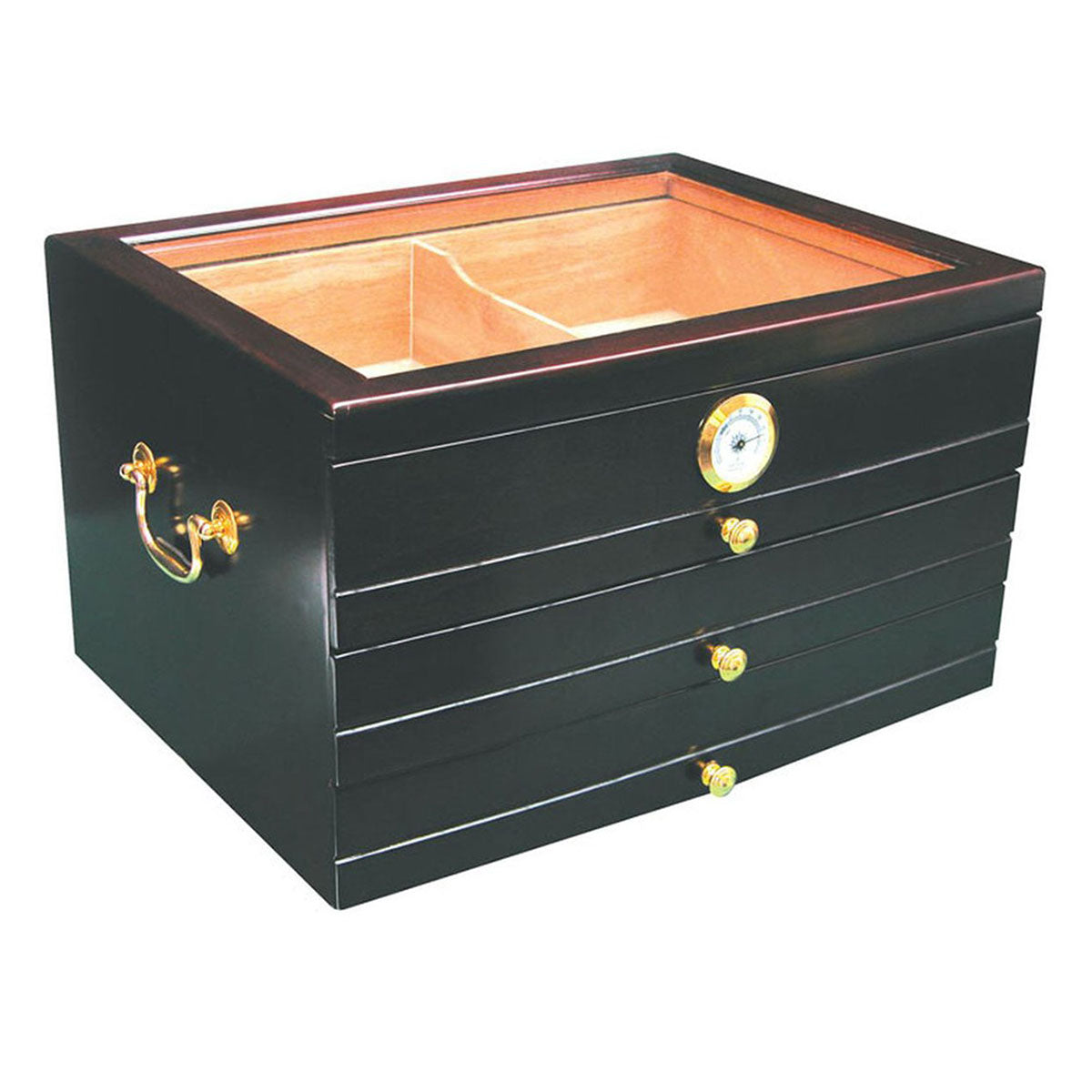 """LE MONTMARTRE"" Mahogany Drawers Desktop Humidor for 100 Cigars"
