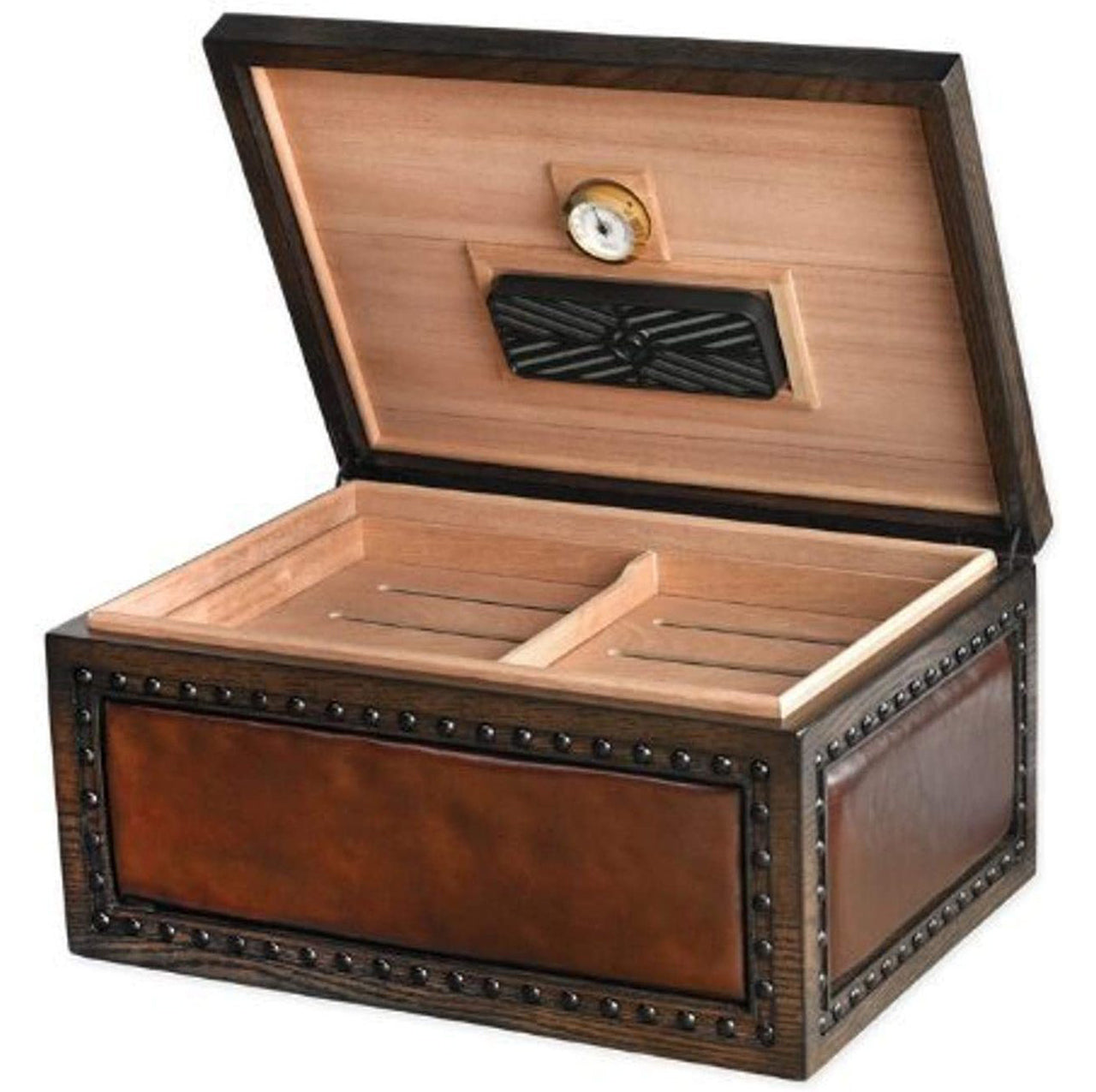 """LE VERONESE"" Leather Upholstered Desktop Humidor for 200 Cigars"