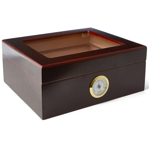 """LE ISLE"" Glasstop Mahogany Humidor for 25 Cigars"