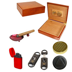 COMBO PADRE Humidor for 25 Cigars, Cutter, Ashtray and Torch Lighter Cigar