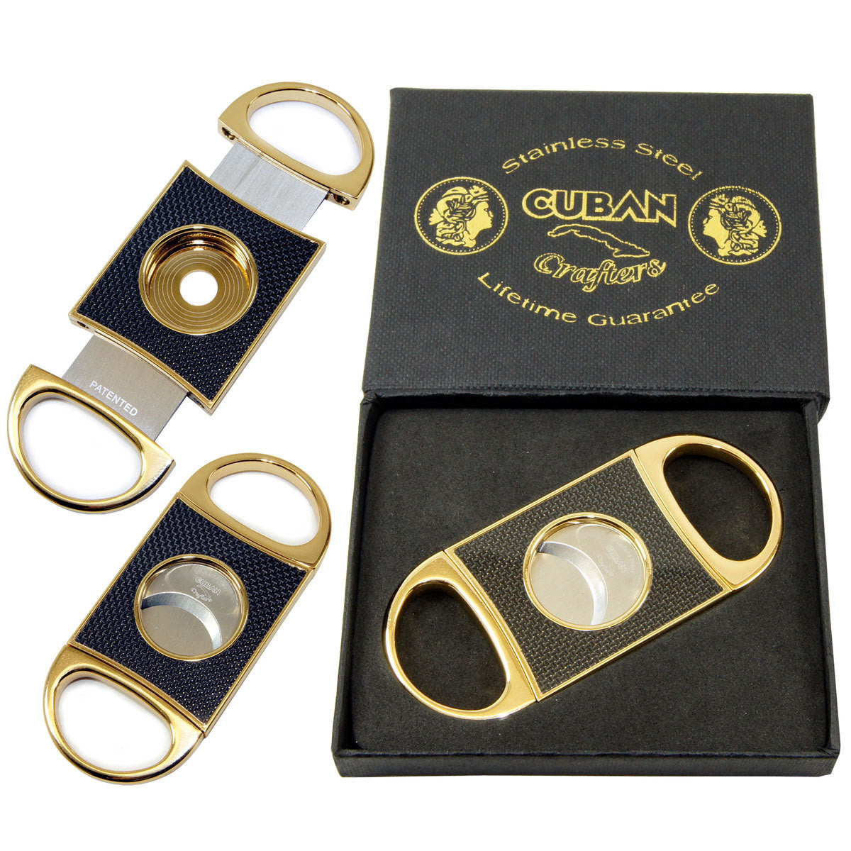Gold Cigar Cutter Cuban Crafters Carbon Fiber Perfect Cutters - Humidors Wholesaler
