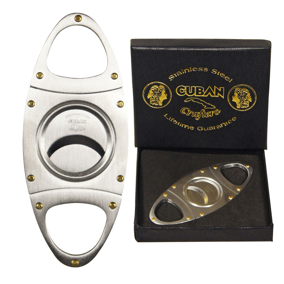 Cigar Cutters Wholesale Cuban Crafters Double Stainless Steel Blades U Handles - Humidors Wholesaler