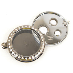Cigar Cutters Cuban Crafters 3 Size Round Cigar Punch in Silver With Diamond Frame - Humidors Wholesaler