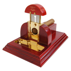 Guillotine Mesa Fina Red Rojo Cherry Wood Gold Tabletop Cigar Cutter - Humidors Wholesaler