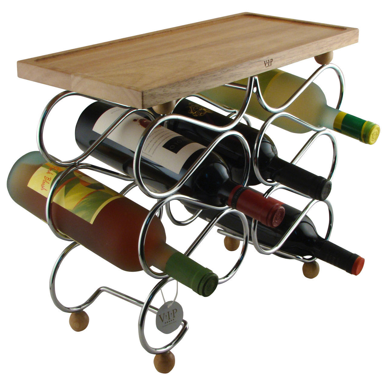 Wine Rack Table Wood and Chrome Holds 10 Bottles - Humidors Wholesaler