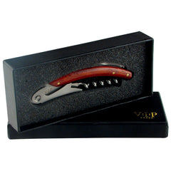 Stainless Steel Wine Corkscrew With Wood Handles in Gift Box - Humidors Wholesaler