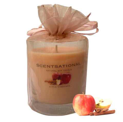 Scented Soy Candles APPLE CINNAMON (11 oz) eliminates smoke, household and pet odors.