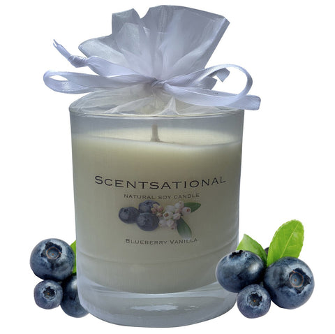 Scented Soy Candles BLUEBERRY VANILLA (11 oz) eliminates smoke, household and pet odors.