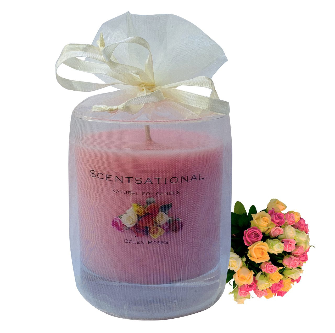 Scented Soy Candles DOZEN ROSES (11 oz) eliminates smoke, household and pet odors.