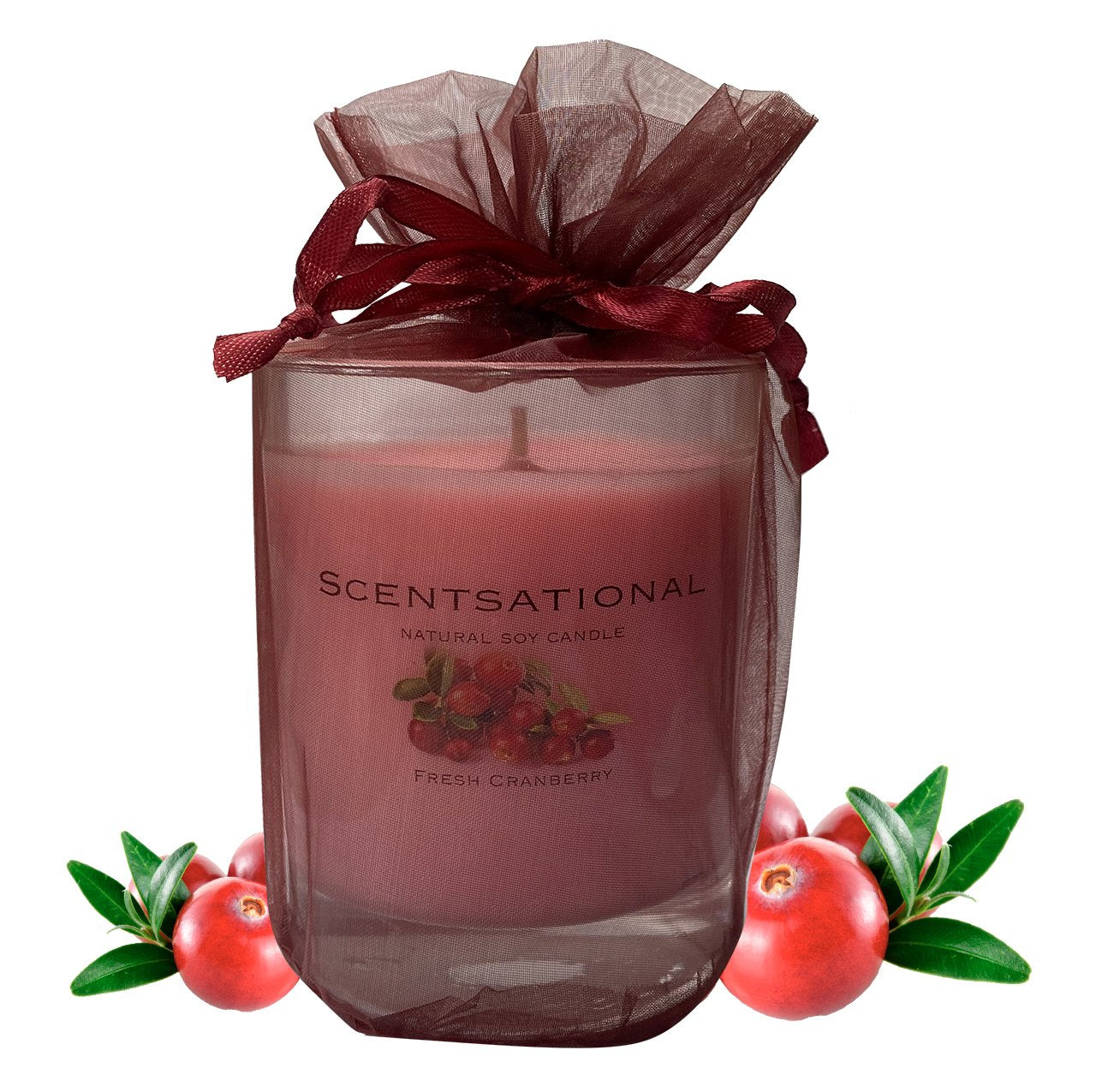Scented Soy Candles CRANBERRY (11 oz) eliminates smoke, household and pet odors.
