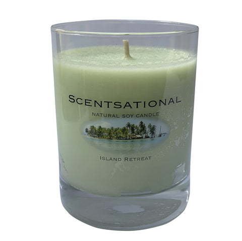 Scented Soy Candles ISLAND RETREAT (11 oz) eliminates smoke, household and pet odors.