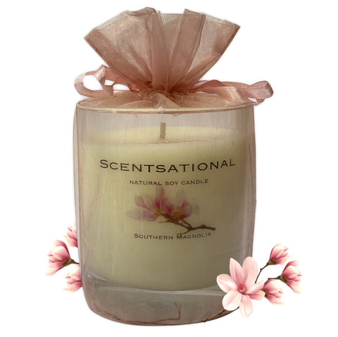 Scented Soy Candles SOUTHERN MAGNOLIA (11 oz) eliminates smoke, household and pet odors.