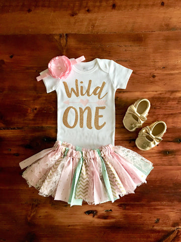 3f79bf737 Wild One pink and aqua birthday outfit with moccasins | Arrow Print tutu |  Boho Birthday
