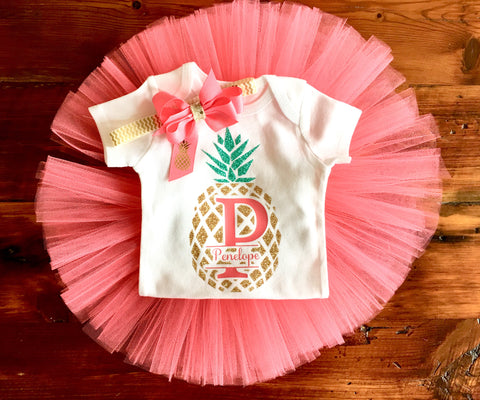 Pineapple coming home outfit | Coral and gold tutu outfit