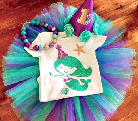 Mermaid Birthday Tutu Outfit purple, teal and gold