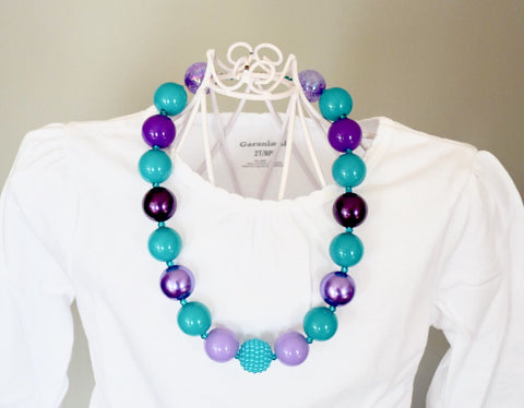 Purple and Teal Bubblegum Necklace