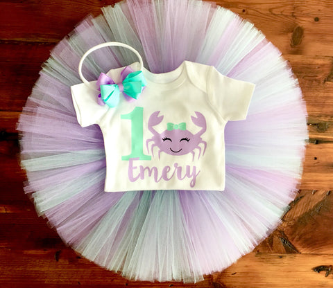 Crab 1st Birthday Outfit lavender and aqua