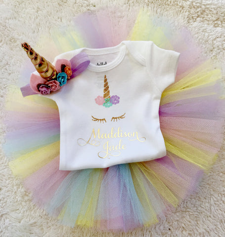 Rainbow Unicorn coming home outfit