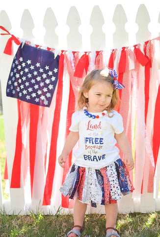 4th Of July Outfit | Memorial Day outfit | Red white and Blue Tutu | Home of the Brave shirt toddler