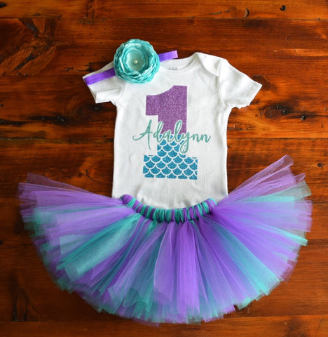 Mermaid Scales Birthday Tutu Outfit