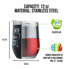 WTF 12oz Stainless Steel Wine Powder Coated Engraved Travel Tumbler with Splash
