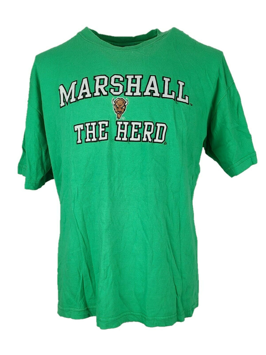 Men's Marshall The Herd Short Sleeve Shirt Size Xl Color Green Crew Neck