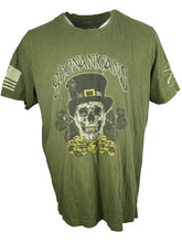 Shenanigans Skull Graphic T Shirt  Crew Neck Army Green With Flag Size 4XL