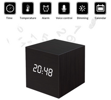 Wooden LED Digital Alarm Clock, Displays Time Date and Temperature, Cube
