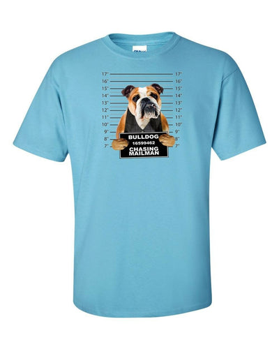 Funny T-Shirt Bulldog Jail Photo Chasing Mailman