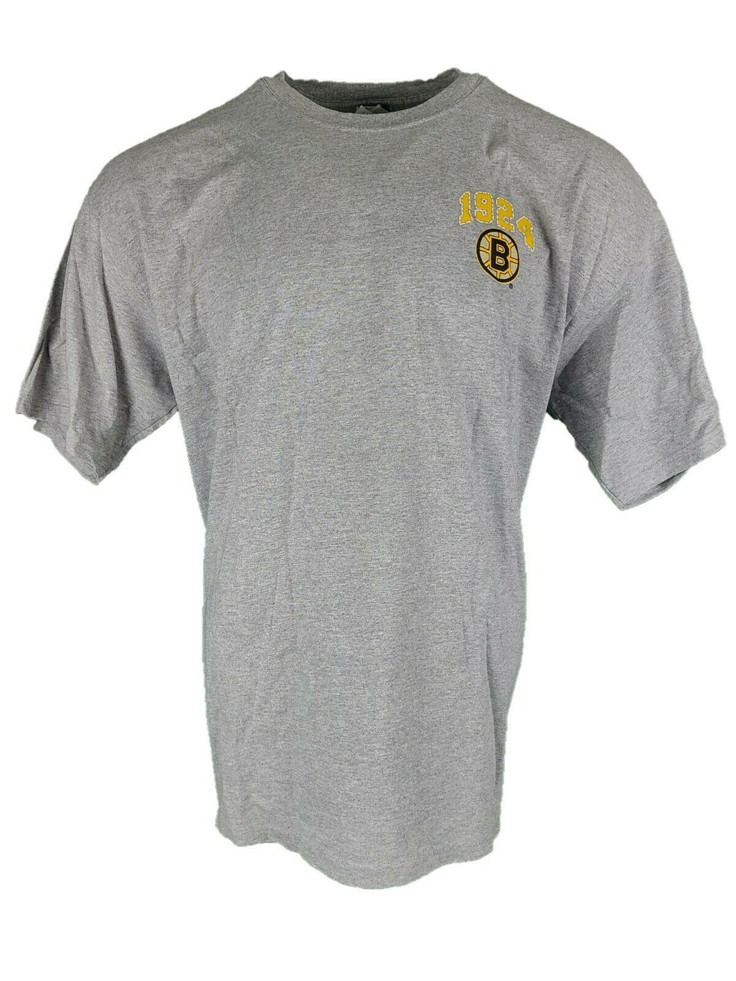 New Est. 1924 Boston Bruins T Shirt With Graphics On Front And Back Gray