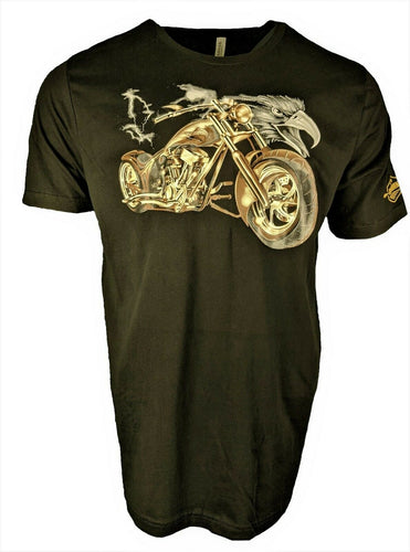Retro Vintage T Shirt Classic Hot Rod Motorcycle with Eagle for Men Great Gift