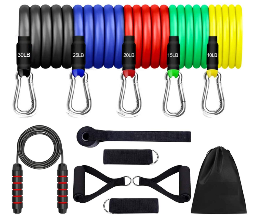 12pcs Resistance Bands Set, 5 Stackable Exercise Bands with 2 Handles, 2 Ankle