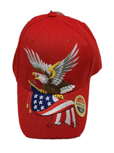 American Eagle Flag Embroidered Baseball Cap Hat Adjustable Red One Size Fit