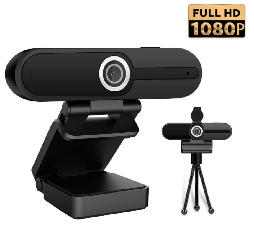 Full HD 1080P Webcam with Microphone, 90-Degree Wide Angle Web Camera