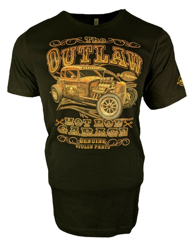 Retro Vintage Hot Rod T Shirt The Outlaw Hot Rod Garage for Men