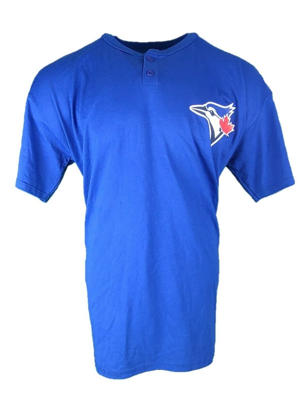 New Majestic Toronto Blue Jays MLB Short Sleeve Mens Graphic Button Henley Tee
