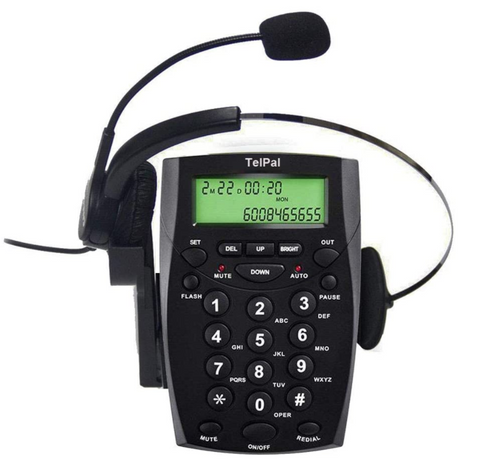 Corded Call Center Headset Telephone with Dialpad & Monoral Noise Cancelling