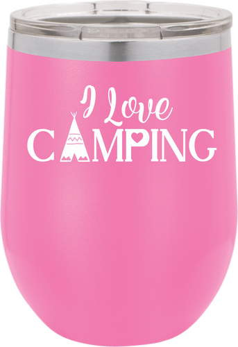 I Love Camping Funny Novelty Stainless Steel Coffee Tumbler  Double Wall