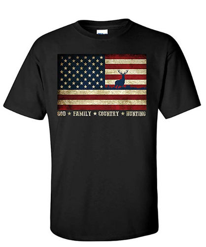 Patriotic American USA Flag T-Shirt God, Family, Country, Hunting, Preshrunk