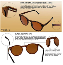 Wood Sunglasses Polarized for Men and Women - Wooden Vintage Retro Round Sunglas