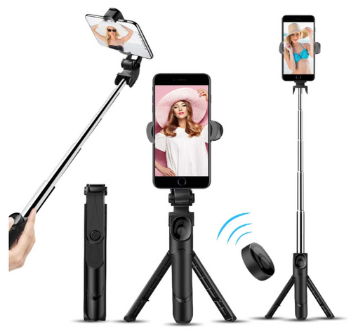 Phone Tripod, Selfie Stick Tripod with Bluetooth Remote for iPhone, Cellphone