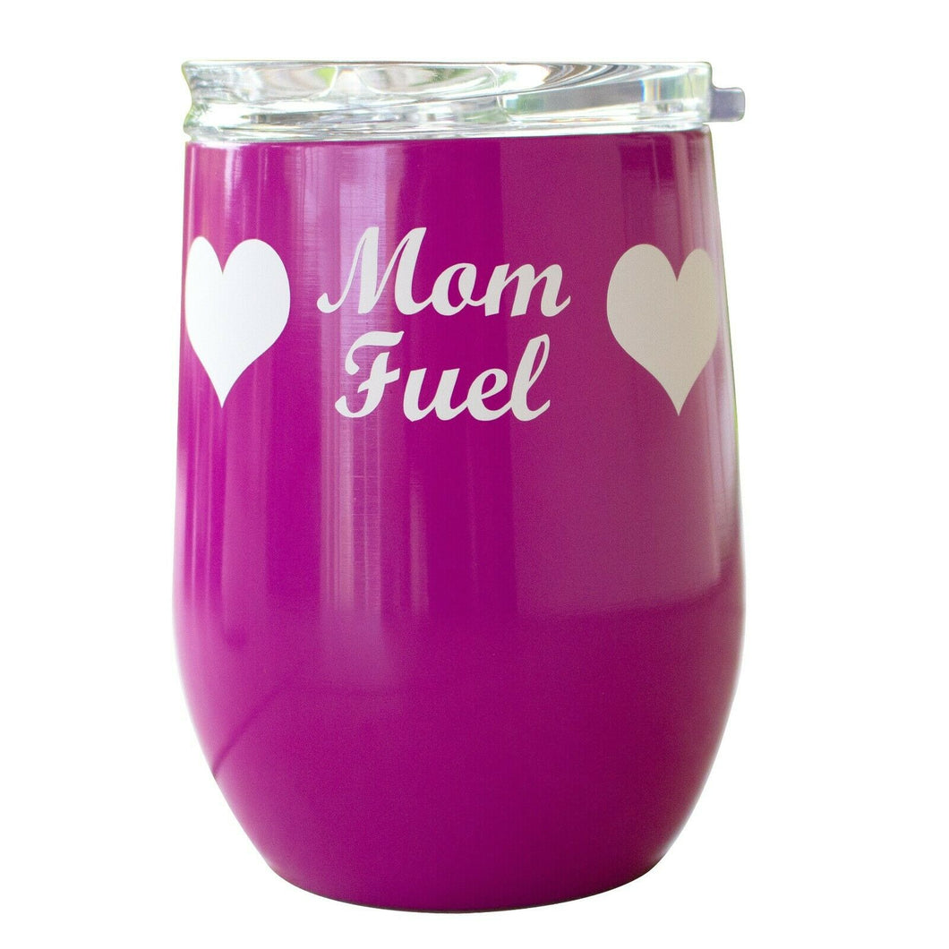 12OZ Wine Tumbler Novelty Mom Heart Fuel Double Wall  Stainless Steel Sweat Free
