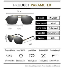 Mens Polarized Sunglasses 100% UV Protection Metal Frame Rectangular Sun Glasses