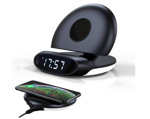 Wireless Charging Alarm Clock Foldable Stand 12/24 Hour Digital Alarm Clock