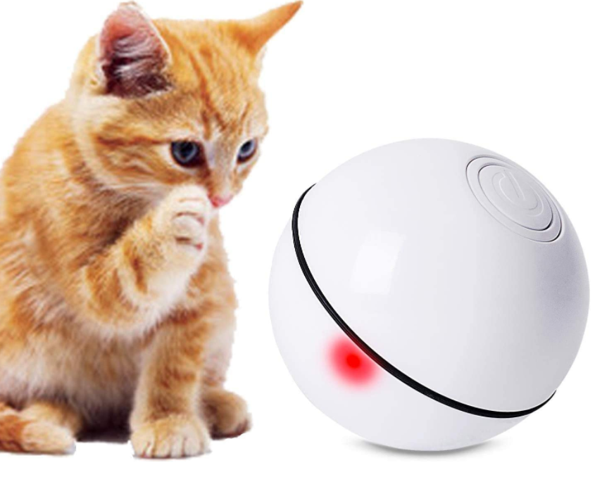 Smart Interactive Cat Toy Ball, LED Flash Ball USB Rechargeable Pet Toy, 360 Deg