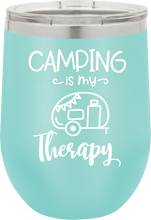 Camping Is My Therapy  Funny Novelty Stainless Steel Coffee Tumbler  Double Wall