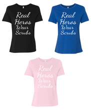 Real Heros Wear Scrubs Women's Short Sleeve T Shirt Casual And Cute Inspirational Graphics