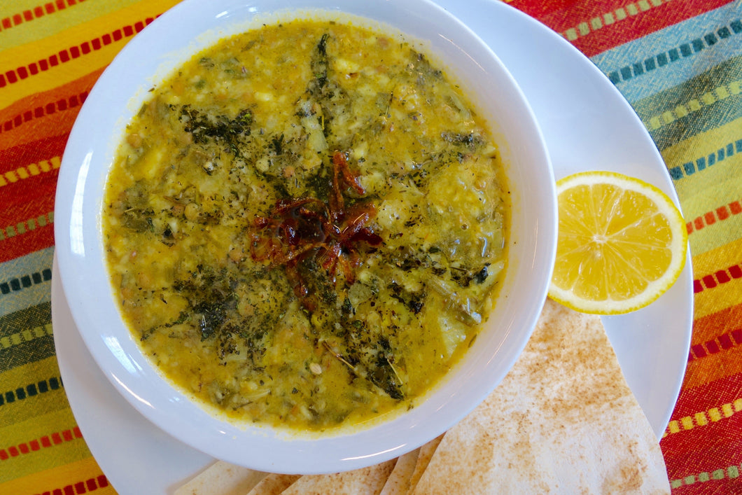 Ashe Omaj (Green Lentil Soup) with Pita